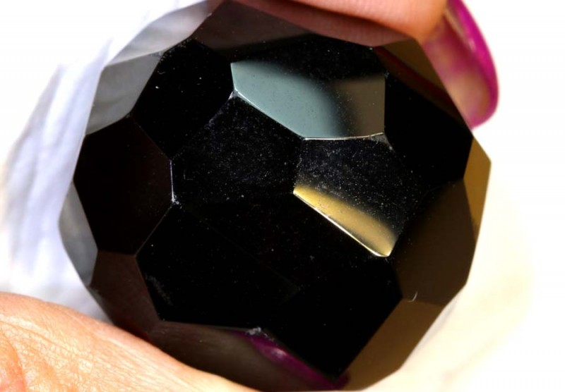 111 CTS  BLACK ONYX BEAD FACETED NP-2446