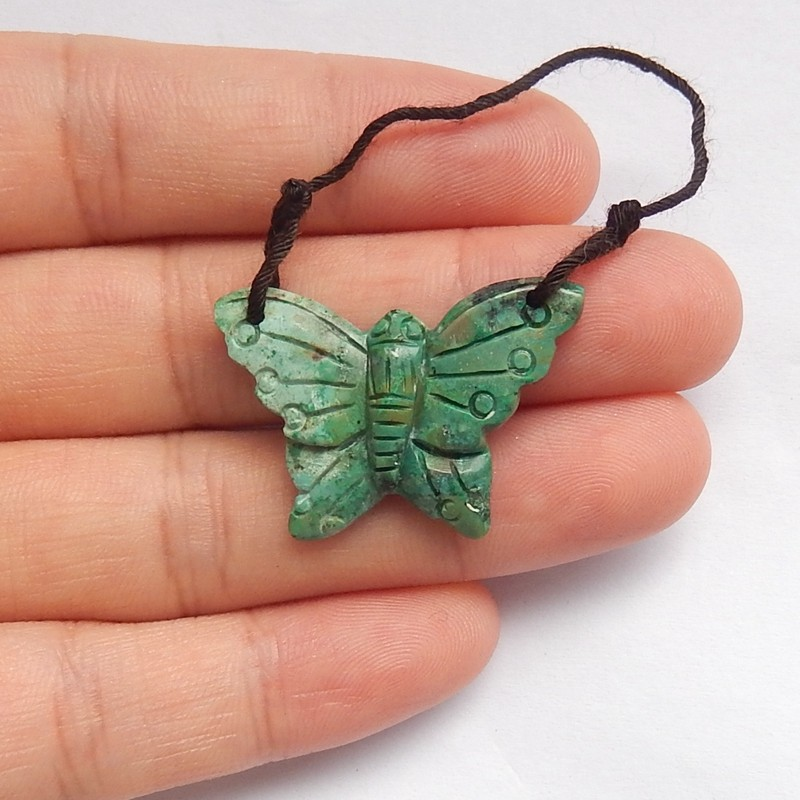 12ct Natural turquoise  pendant carved butterfly bead (18091494)