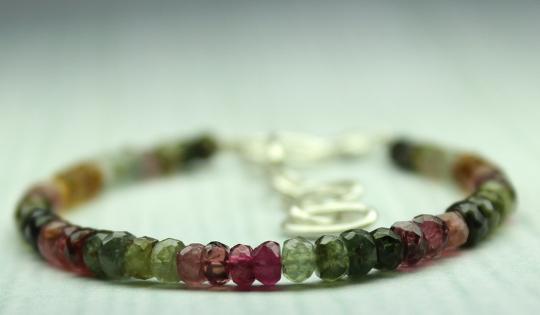 27 Crt Natural multi tourmaline Rondelle bracelet
