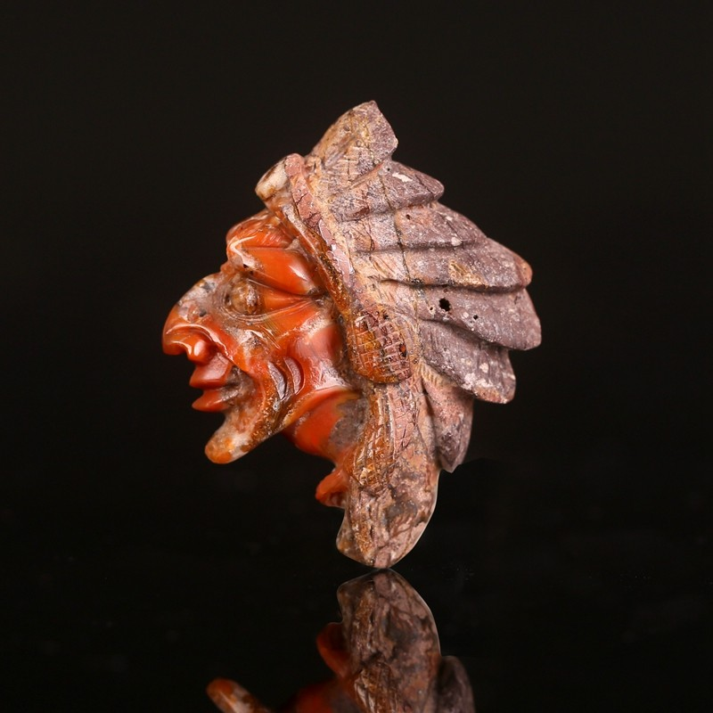 Vintage Carved Indian Head.Natural Warring States Red Agate Gemstone Pendant,Gemstone Carved Bead.36x35x4mm,8g Cp1602