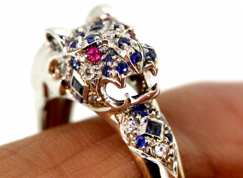 2752-CTS  BLUE SAPPHIRE RING BLUE , WHITE AND PINK  SG-2752