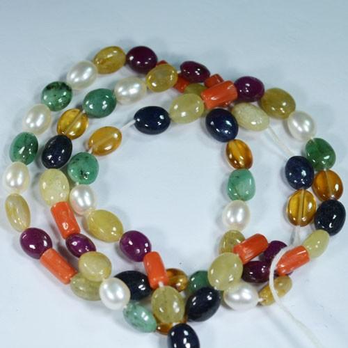 94.54Cts Natural Navarathna Ball Beads 46cm
