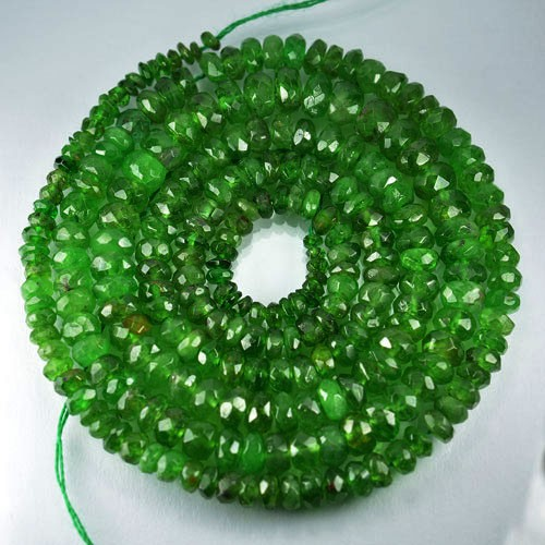 51.52Cts Untreated Natural Tsavorite garnet Rondelle Beads 44cm