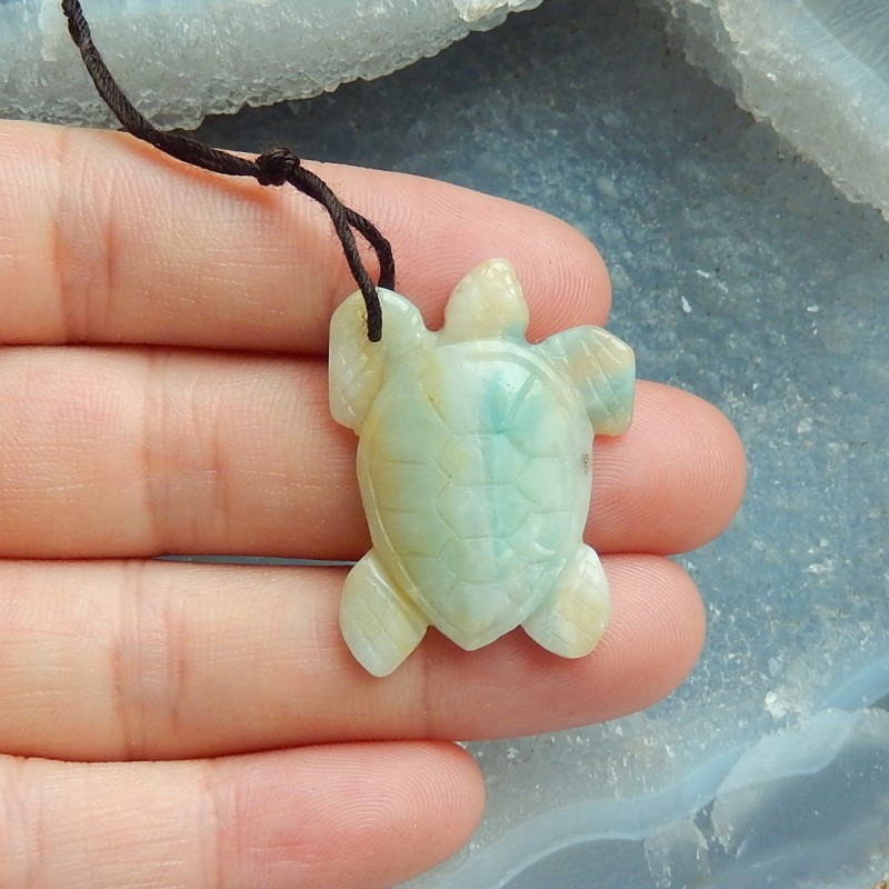Hot 22ct Natural amazonite carved turtle pendant bead (18091662)