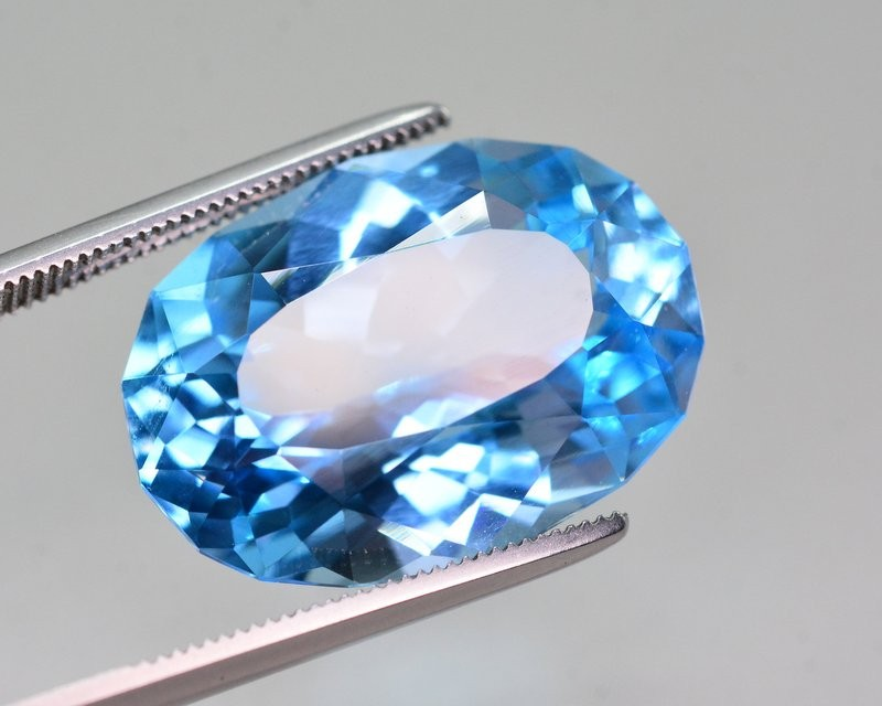 28.30 Ct Natural Fancy Oval Shape Blue Topaz Gemstone