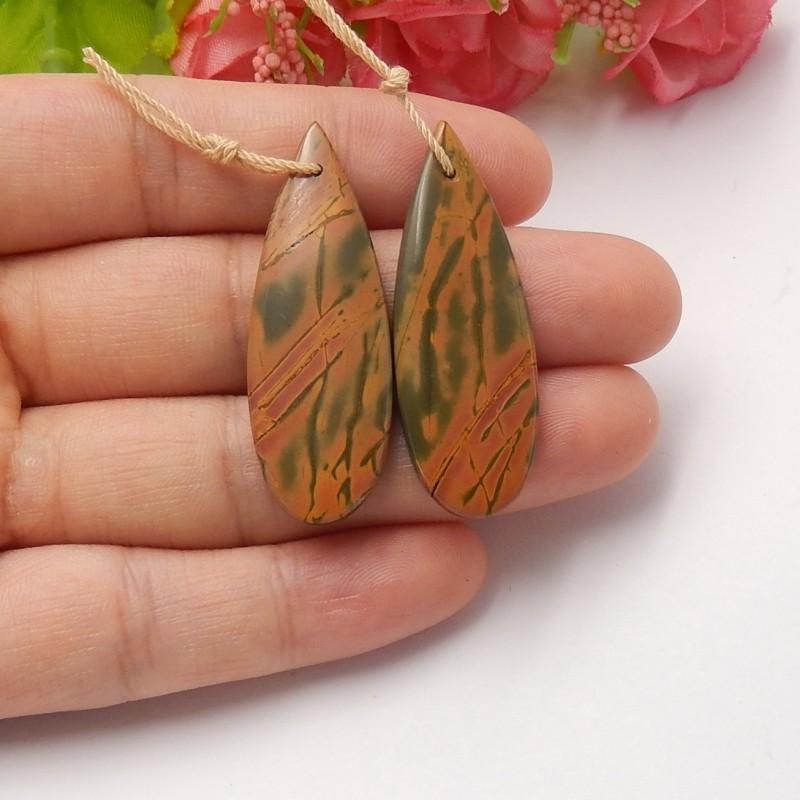 38.5cts Natural multi color jasper earring beads semi-precious stones (A32)