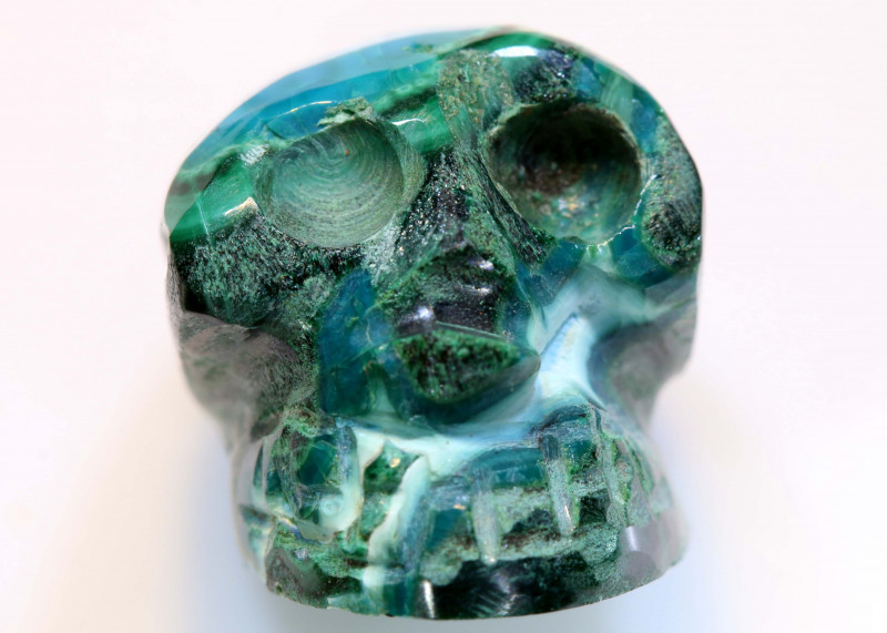 26.30CTS CHRYSOCOLLA SKULL CARVING  LT-442