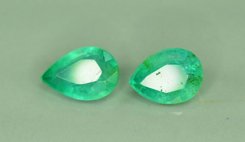 1.35 cts Natural Emerald Gemstones Pair ~ Swat