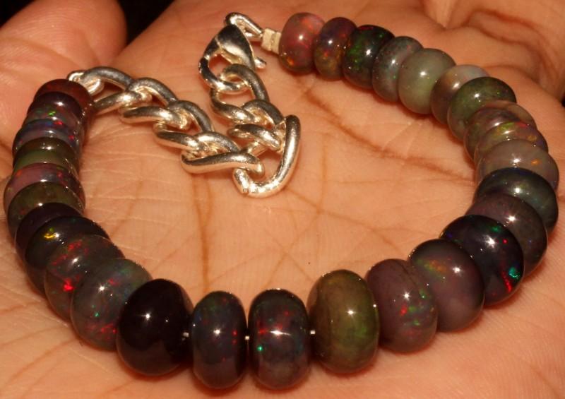 52 Crt Natural Ethiopian Fire Smoked Black Opal Beads Bracelet 0053