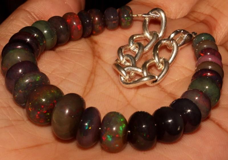 64 Crt Natural Ethiopian Fire Smoked Black Opal Beads Bracelet 0063