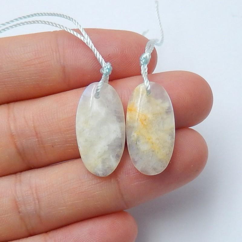 16ct Natural moonstone earring beads  semi-precious stones (A124)