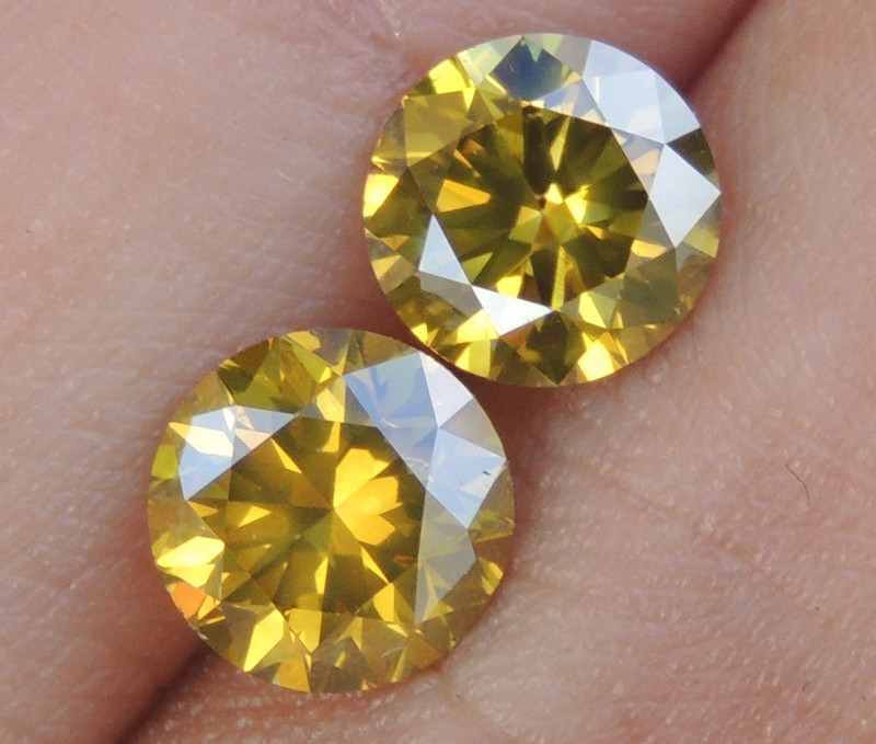 BLACK FRIDAY 2.41cts,Yellow Diamond Pair,   Top Quality,  High End Stones