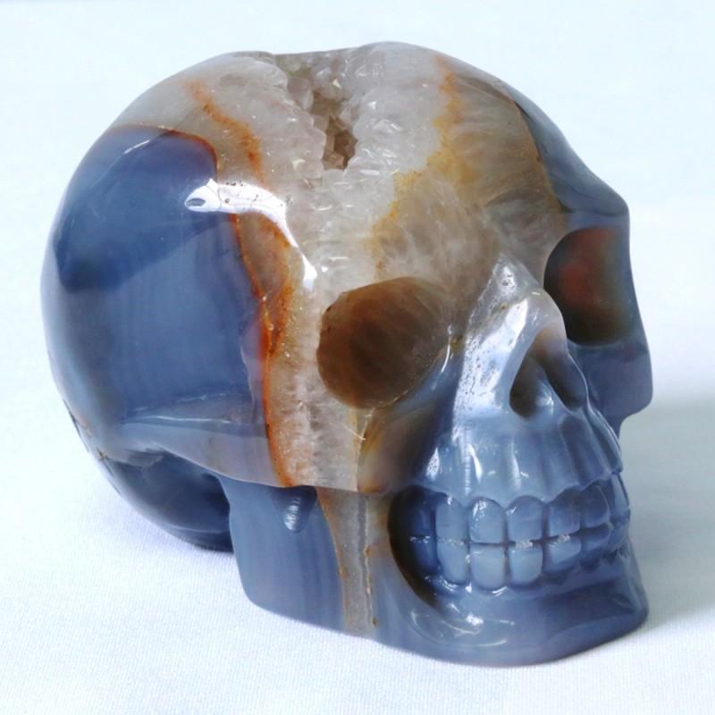 1.00Kilo Crystal Geode on jasper hand carved Skull  WS 507