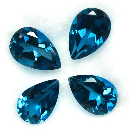 6.51 Cts Natural London Blue Topaz 9x6 mm Pear Cut 4 Pcs Brazil
