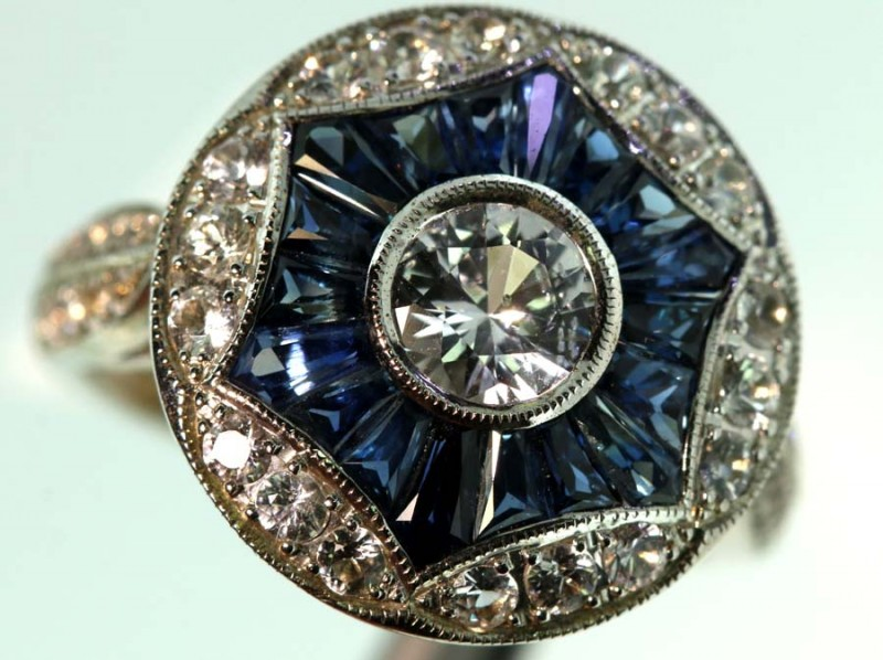 25.80-CTS SAPPHIRE RING BLUE AND WHITE   SG-2790