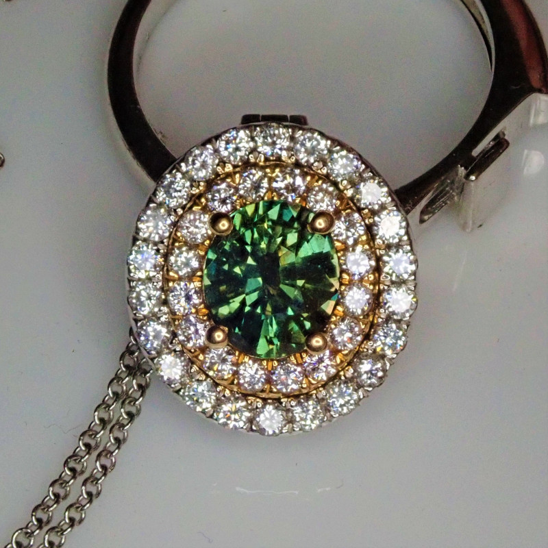 alexandrite pendant and ring with diamonds