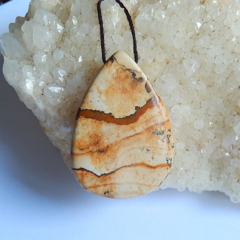 50cts New picture jasper gemstone waterdrop  pendant bead (A231)