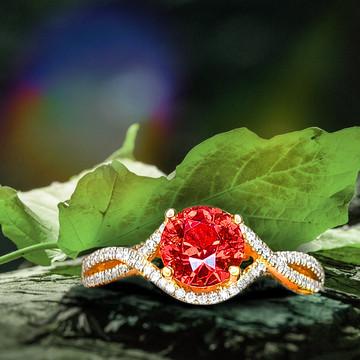 1.46ct Orange Burma Spinel Ring