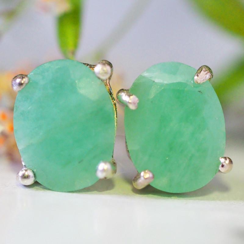 Cute Jade set in Silver Earrings   WS543