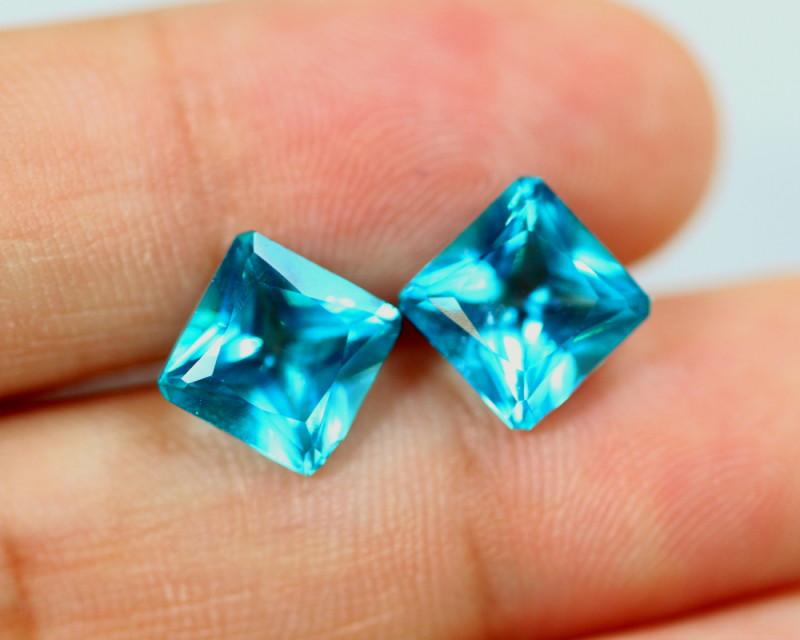 6.00cts Natural Paraiba Colour Topaz Earrings Pair