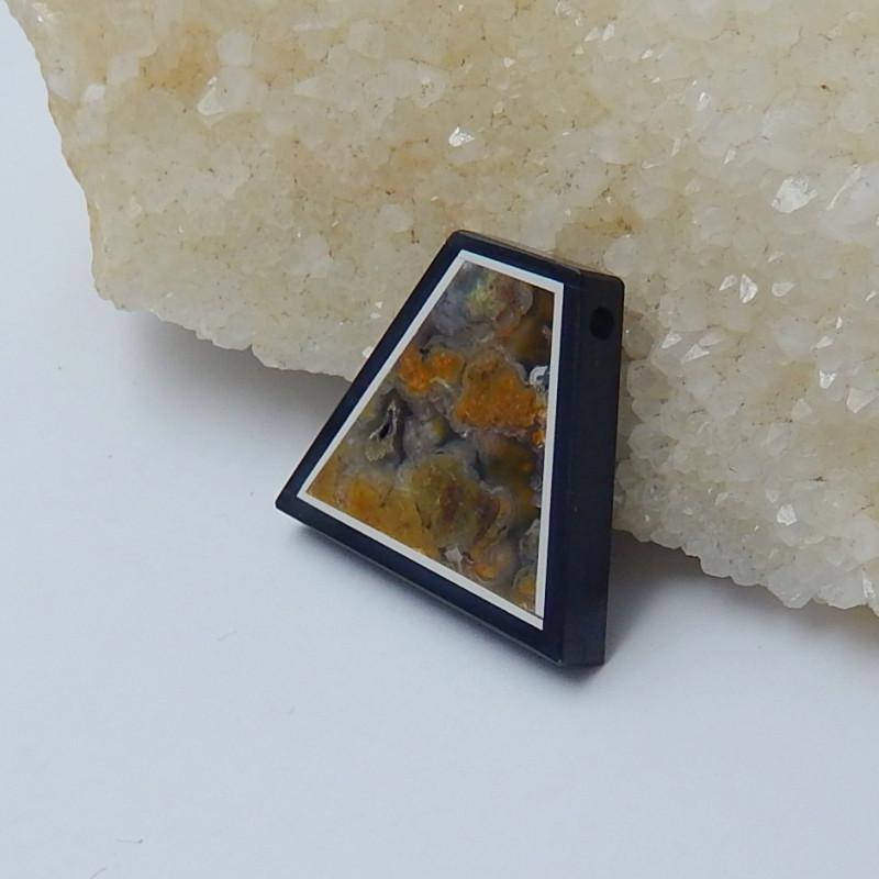 38.5cts fashion  ocean jasper ,obsidian intarsia cabochon(A261)
