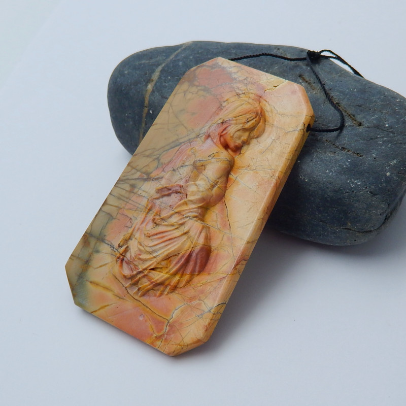 217cts New carved multi color jasper carved sexy girl pendant bead (A267)
