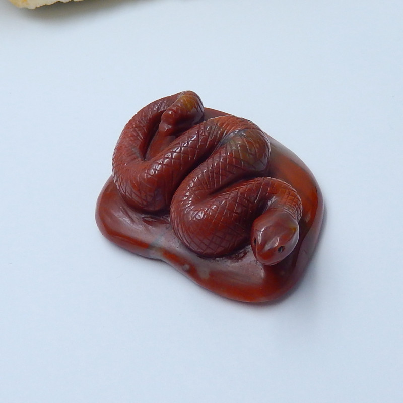 342cts red river jasper carved snake animal cabochon bead  (A268)