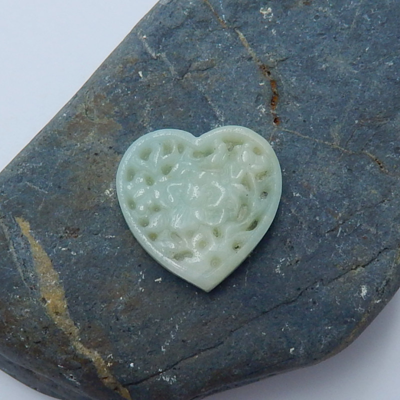 19cts amazonite carved heart shape cabochon bead semi-gem (A276)