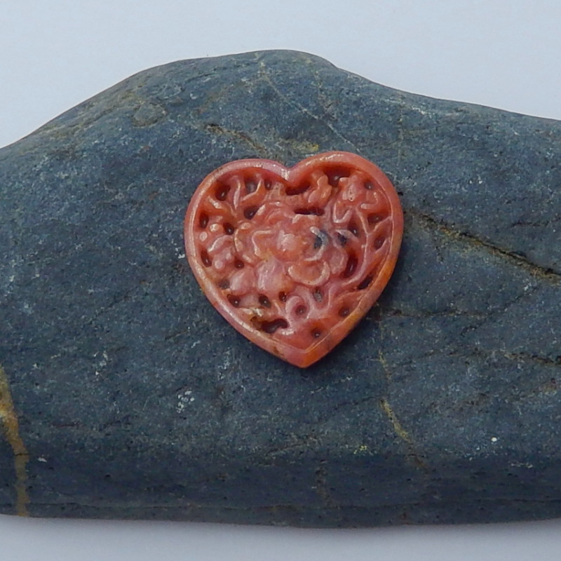 31cts Rhodochrosite gemstone carved heart shape cabochon beads (A275)