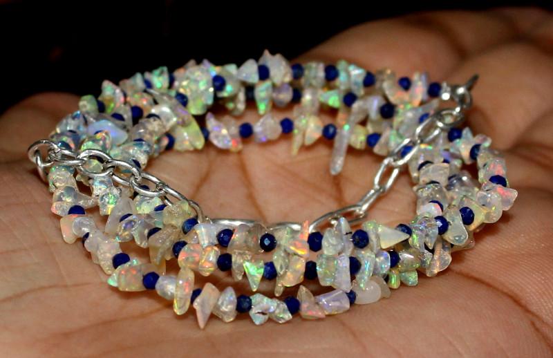 25 Crt Natural Ethiopian Welo Fire Uncut Opal & Lapis Lazuli Necklace 4