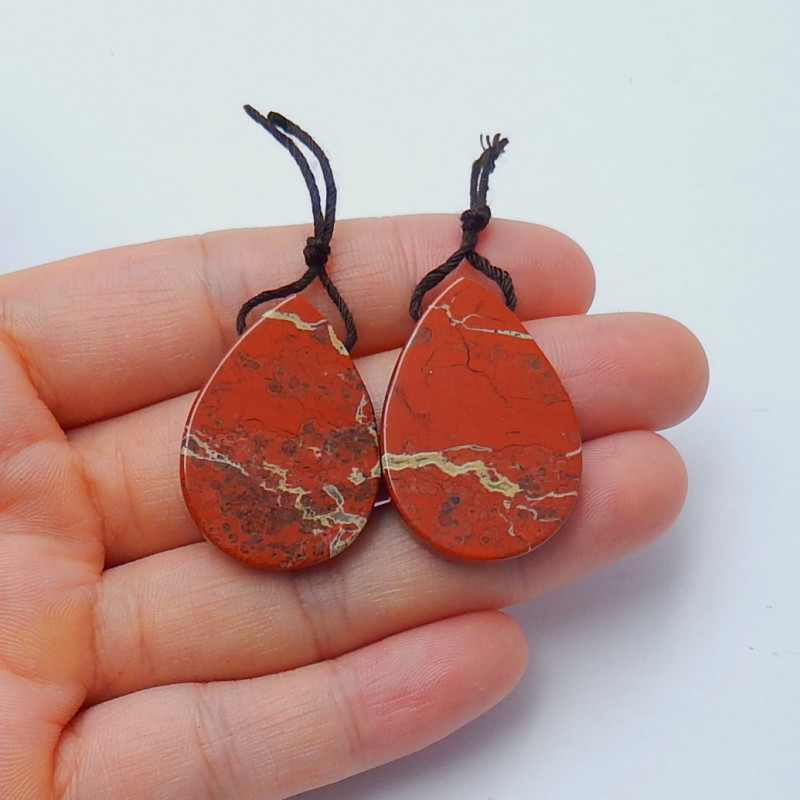 47.5cts New 2pcs red river jasper waterdrop gemstone beads  semi-gem (A295)