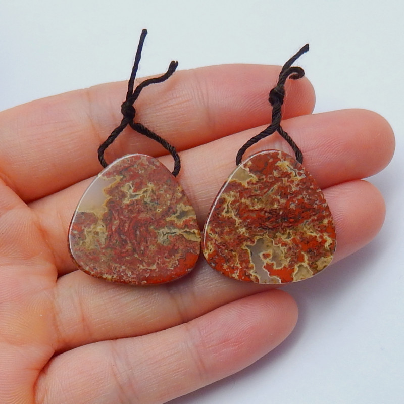 46cts lovely natural red river jasper earring pairs  semi-gem (A296)
