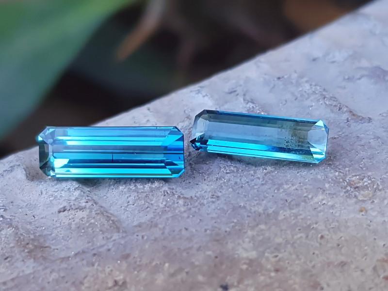 1.60 Ct Natural Blueish Transparent Tourmaline Gemstones Pairs