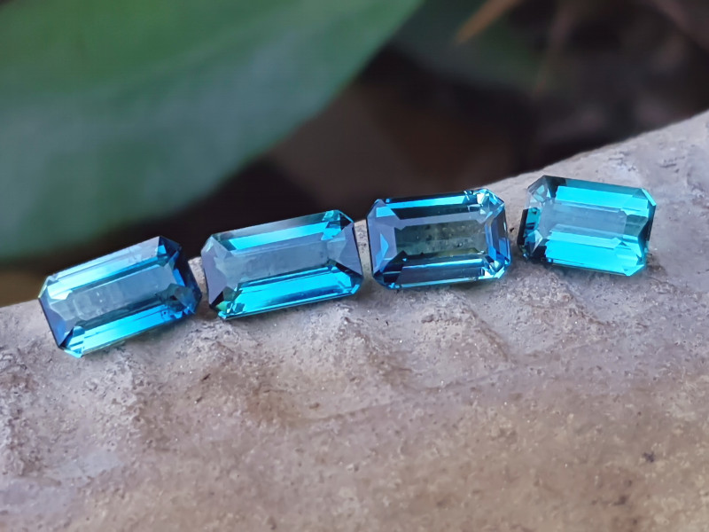 3.90  Ct Natural Blue Ring Size Small Tourmaline 4 Pieces Gems