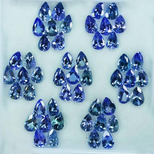 29.21 Cts Natural Tanzanite Double Shade Blue-Green 6.5x4.5 mm Pear 49 Pcs