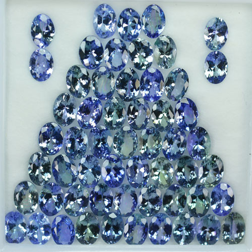 42.24 Cts Natural Tanzanite Double Shade Blue-Green 7x5 mm Oval 56 Pcs