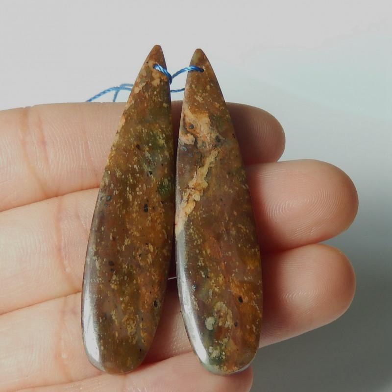 57.5cts New  natural green opal gemstone earring beads semi-gem (A377)