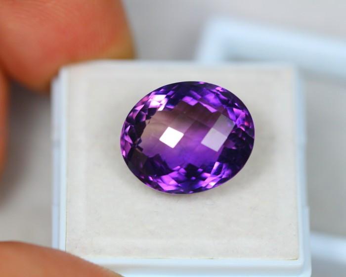 11.85ct Purple Amethyst Chessker Boads Oval Cut Lot S11