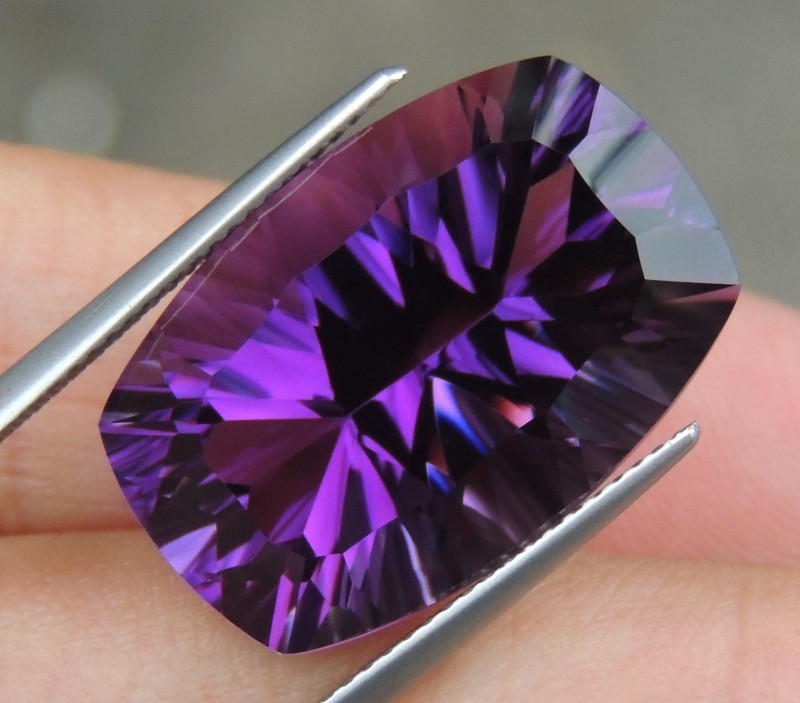 22.18cts, Amethyst,  Top Cut, Clean, Untreated, Concave