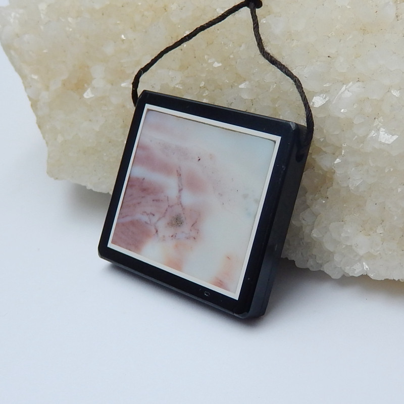 79.5cts natural obsidian and ocean jasper gemstone intarsia pendant (A573)