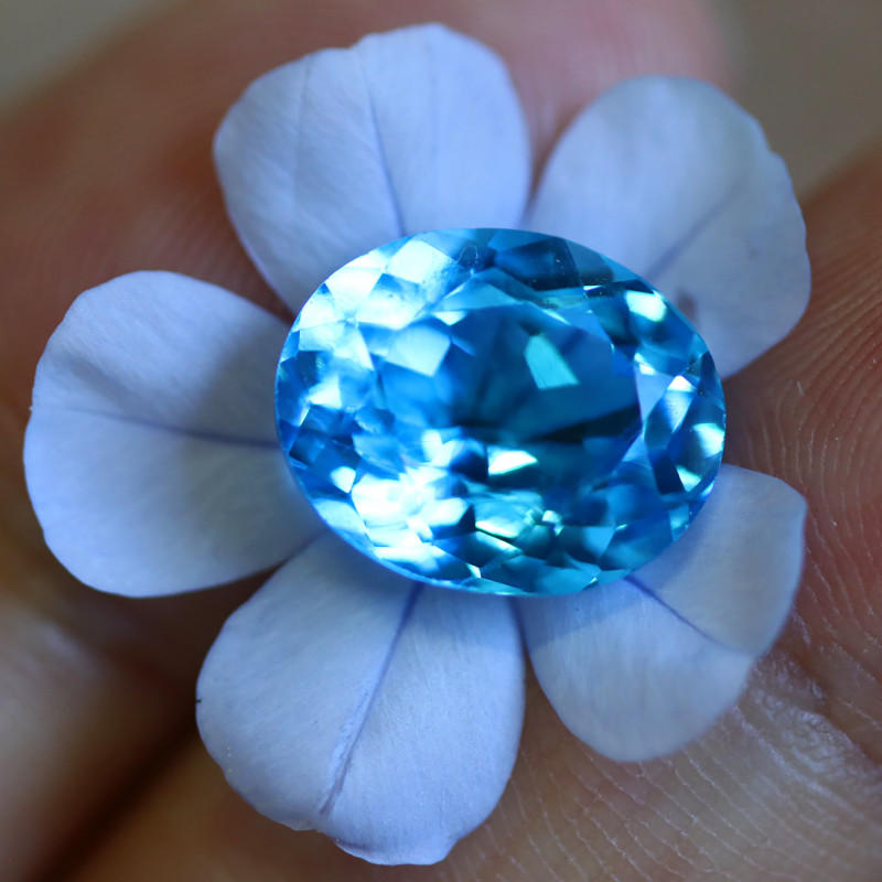 6.12 CTS ELECTRIC BLUE TOPAZ  STUNNING  [GERMANY TREATED][S-SAFE213]
