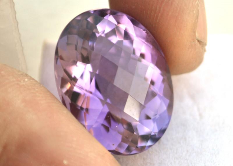24.92 Carat Amethyst -- Fantastic Oval Checkerboard Cut Stone