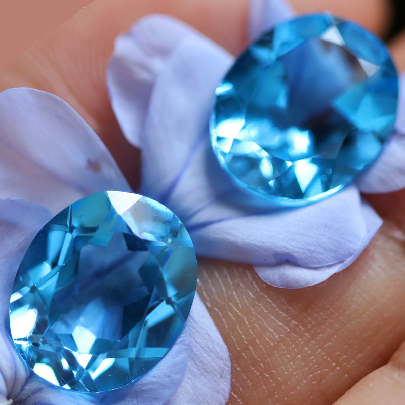 10.96 CTS ELECTRIC BLUE TOPAZ PAIR STUNNING  [GERMANY TREATED][S-SAFE228]