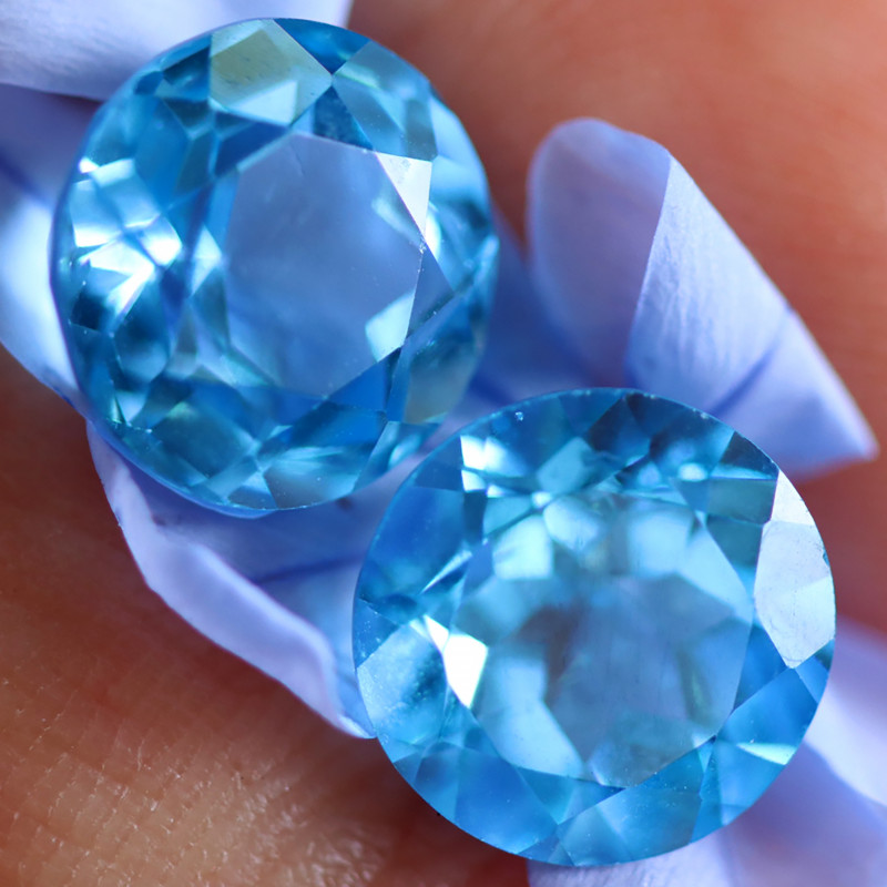 6.87 CTS ELECTRIC BLUE TOPAZ PAIRS STUNNING  [GERMANY TREATED][S-SAFE231]