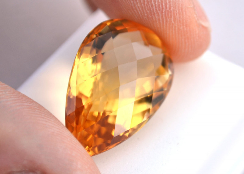 27.65 Carat Citrine -- Fine Pear Checkerboard Cut Stone