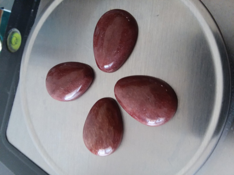 RED JASPER CABOCHON PARCEL 92.50 CARAT WEIGHT PEAR SHAPED CABS