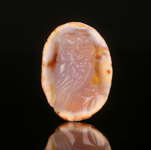 305.5cts Natural Red Agate Carved Owl Cabochon,67x48x19mm(G2003)