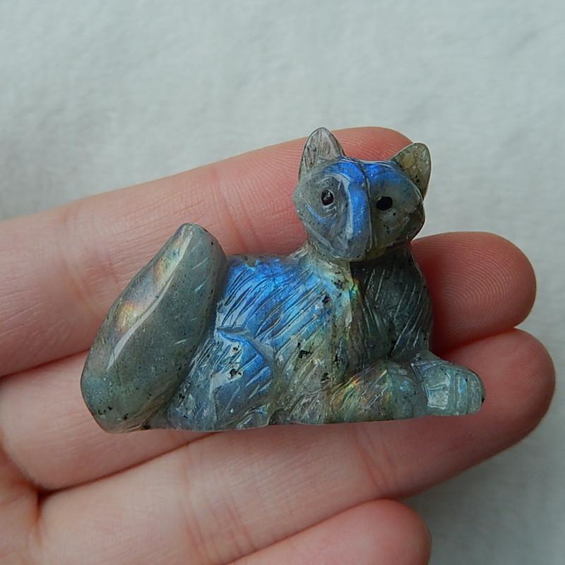 89cts New  Blue flash Labradorite Carved Cat Decoration(G1567)
