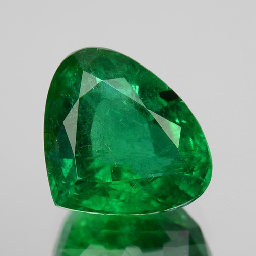 1.58 Cts GLITTERING NATURAL GREEN EMERALD ZAMBIA PEAR MIXED