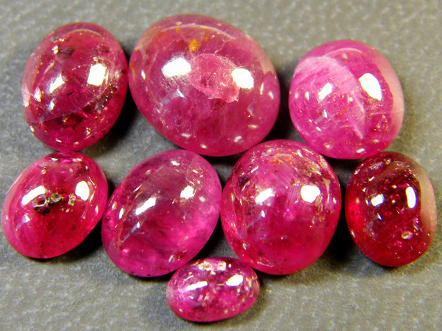 PARCEL BLOOD RED RUBIES LARGE CABOCHON 20 CTS RM 449
